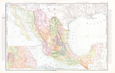 Antique Vintage Color English Map of Mexico