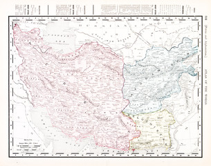 Antique Vintage Color English Map of Iran and Afganistan