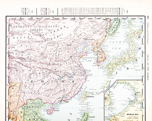 Antique Vintage Color English Map of China, Korea, Japan