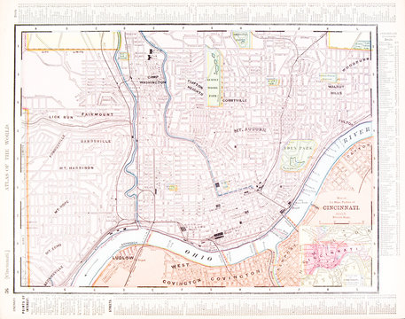 Detailed Antique Color Street City Map of Cincinnati, Ohio, USA