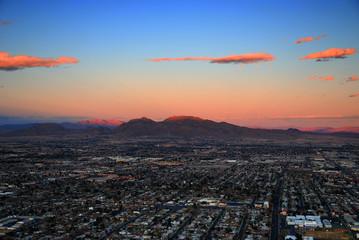 Las Vegas sunset aerial view