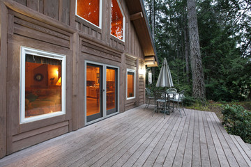 Cabin and deck in the forest