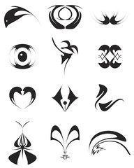 various symbol or brand for your company. Isolated vector