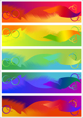 Five abstract halftone cards (vector)