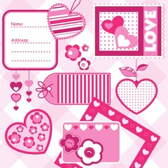 Valentine ´s day scrapbook elements, vector