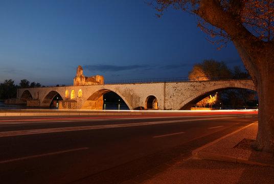 Night view of the Pont St. Benezet (AKA Pont d'Avignon)
