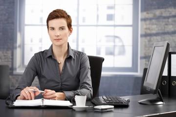 Determined businesswoman at work