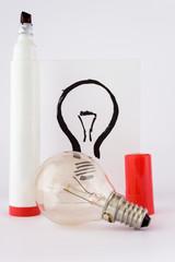 lightbulb and drawing pen