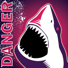 Designed banner with dangerous shark.