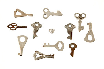 Key from smali heart, isolated on white background