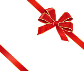 Card with red gift bow with ribbons