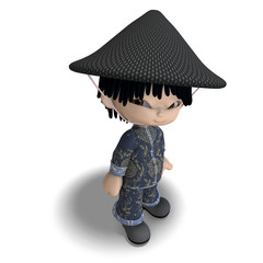 little cartoon china boy is so cute and funny. 3D rendering