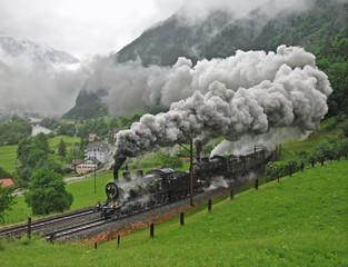 Dampfzug anlässlich 125 Jahre Gotthardbahn