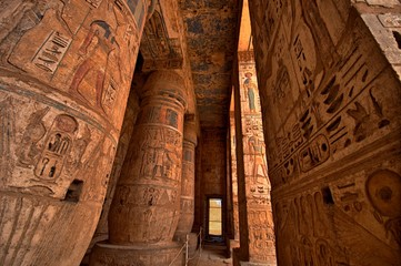 Wall Murals Egypt Heiroglyphs at Medinat Habu. Luxor, Egypt