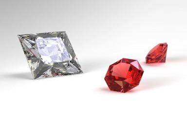 Diamant und zwei Rubine