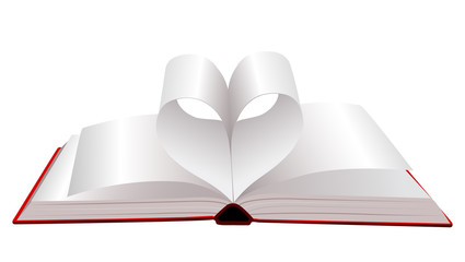 Open book with folded pages