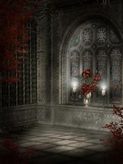 Fototapeta Gotycki pokój z różami i świecami obraz