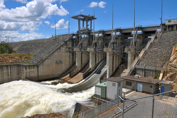 Wivenhoe Dam with one open gate