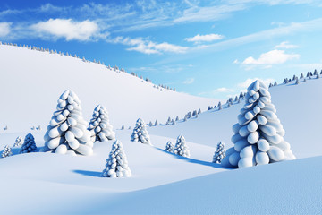 winter landscape with fir trees