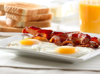 Wall Mural - bacon, eggs and toast breakfast