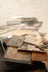 Stack of old photos with shallow depth of field