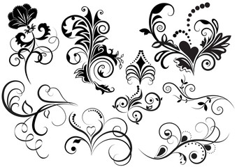 Collection of black and white floral design elements.