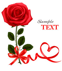 Valentine`s day card. Beauty red rose with bow and ribbons.