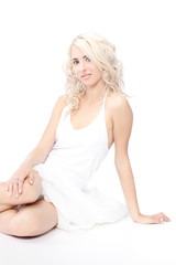 Woman White Dress over white background
