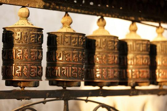 tibetan prayer wheels in nepal