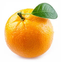 Image of a ripe orange on a white background.