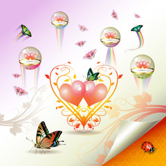 Valentine's day, illustration with hearts and butterflies