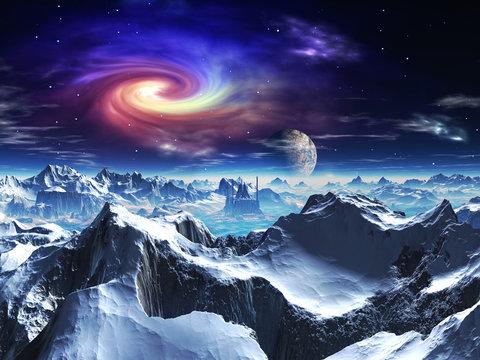 Futuristic Temple on Alien Ice World