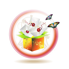 Mail icon for Valentine's day with box, envelope and butterflies