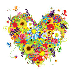 Summer floral heart for your design