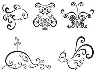 Vector set, isolated black and white objects
