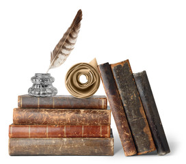 Isolated books. Stack of old books, inkstand with quill and scroll isolated on white background