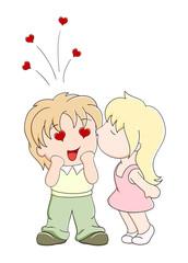 Girl kisses the boy on cheek