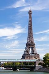National landmark Eiffel tower on Seine river in Paris France