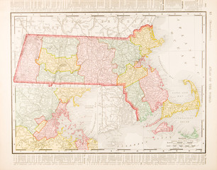 Antique Vintage Color Map of Massachusetts, MA, United States