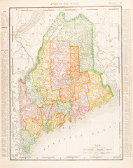 Antique Vintage Color Map of Maine, ME, Unites States, USA