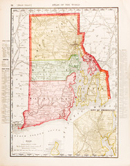 Antique Vintage Color Map of Rhode Island, RI, United States