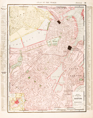 Detailed Antique Color Street City Map of Boston, Massachusetts