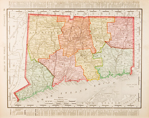 Antique Vintage Color Map of Connecticut, CT, United States, USA