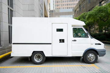 White Armored Car Van Parked Driveway, Downtown Shanghai, China