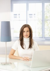 Elegant woman with laptop