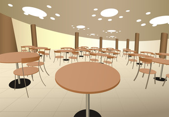 food cort cafe with tables in mall interior vector