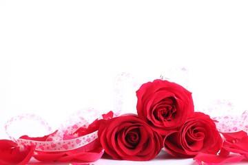 Closeup of red rose with petals