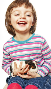 happy little girl and guinea pig