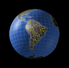 South American economies in stock market tickers on globe