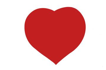 Corazón rojo sobre fondo blanco
